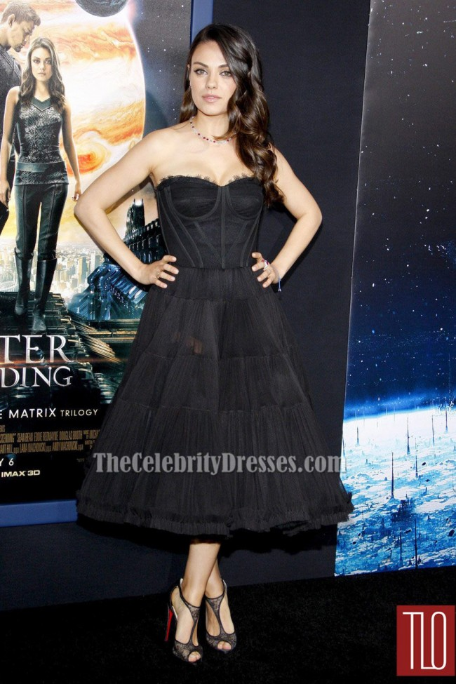1d0d9b4f30 Mila Kunis Black Cocktail Party Dress 'Jupiter Ascending' LA Premiere  TCD6190
