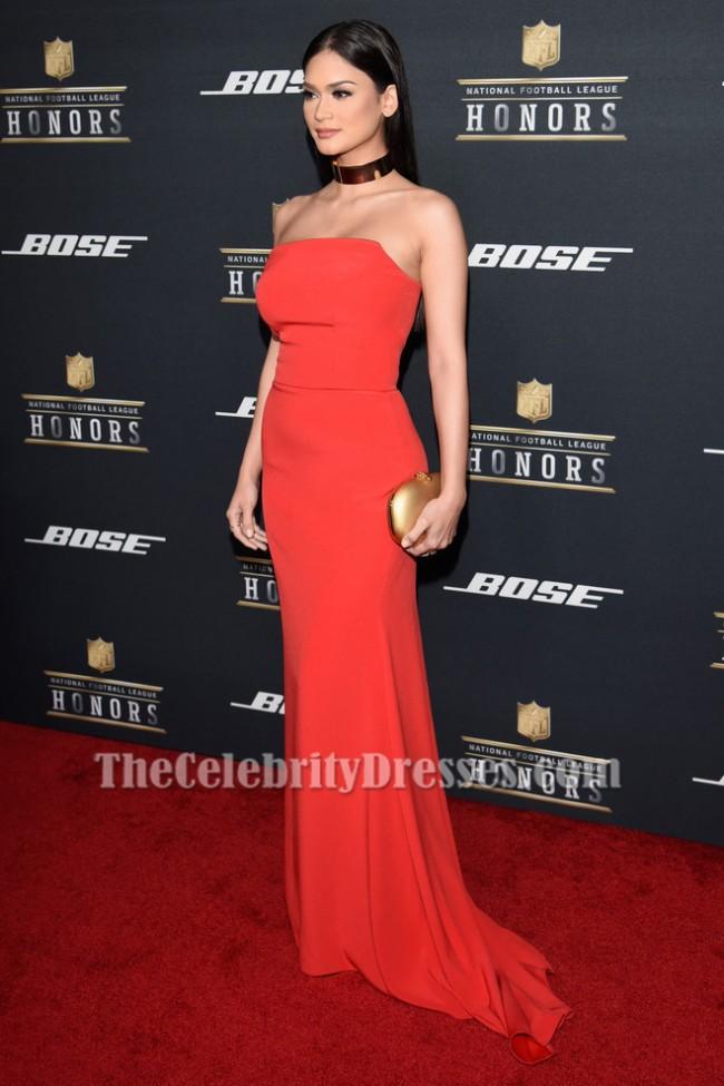 Miss Universe 2015 Pia Wurtzbach Orange Red Strapless