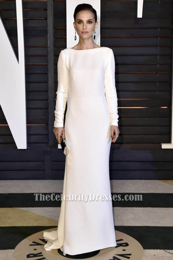Natalie Portman White Long Sleeve Evening Dress Vanity Fair Oscar Party 2015 Thecelebritydresses