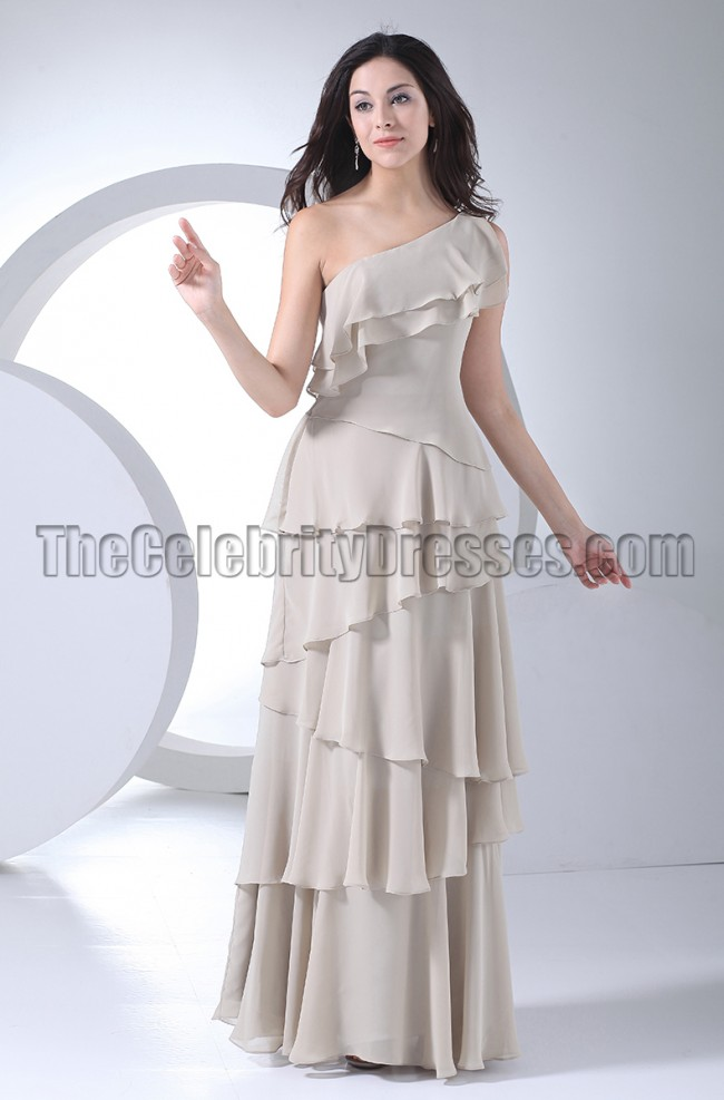 Elegant Silver One Shoulder Evening Dresses Prom Gown ...