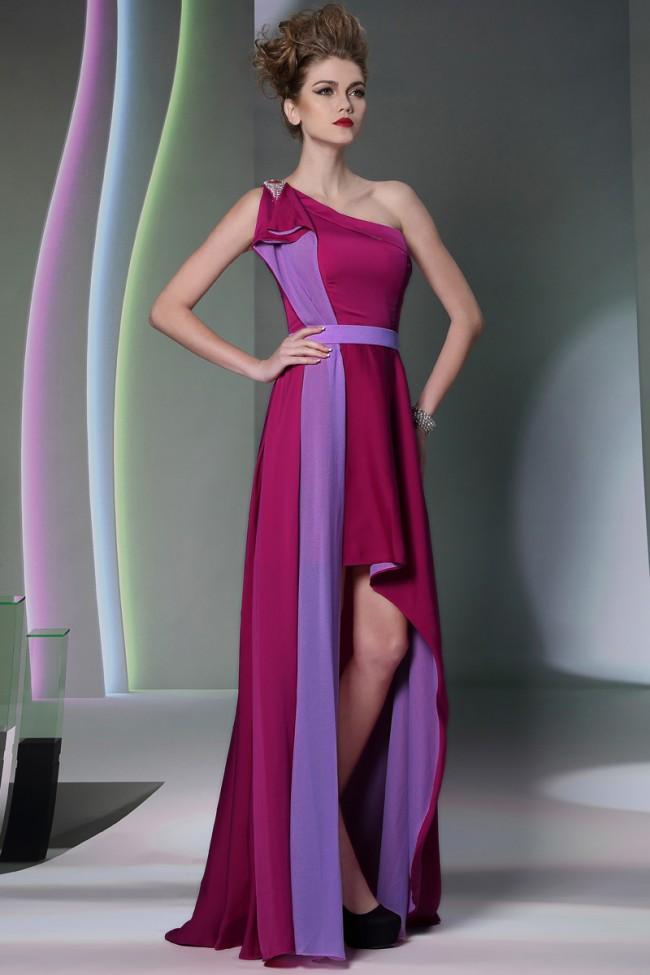 One Shoulder High Low Prom Gown Evening Party Dresses ...