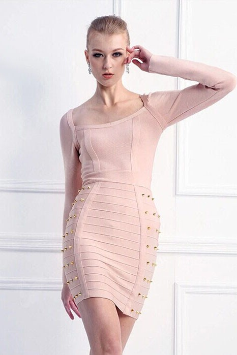 c2f515733332 Pink Long Sleeve Short Cocktail Party Dresses Bandage Dress With Rivet  TCD5900