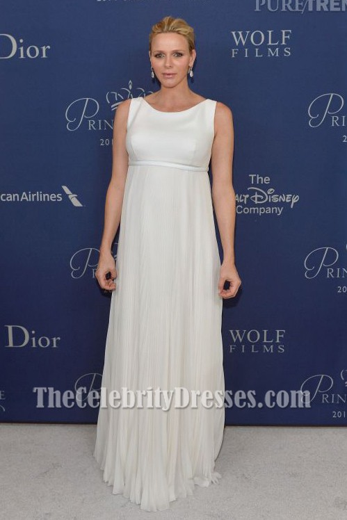 princess charlene of monaco ivory evening dress 2014