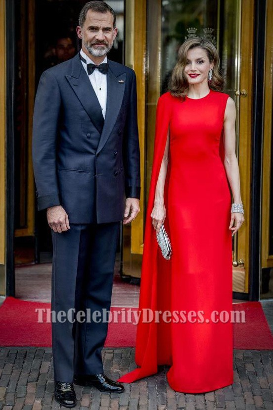 3ab8977777 Queen Letizia of Spain's Red One Sleeve Cape Gown Evening Dress TCD7285