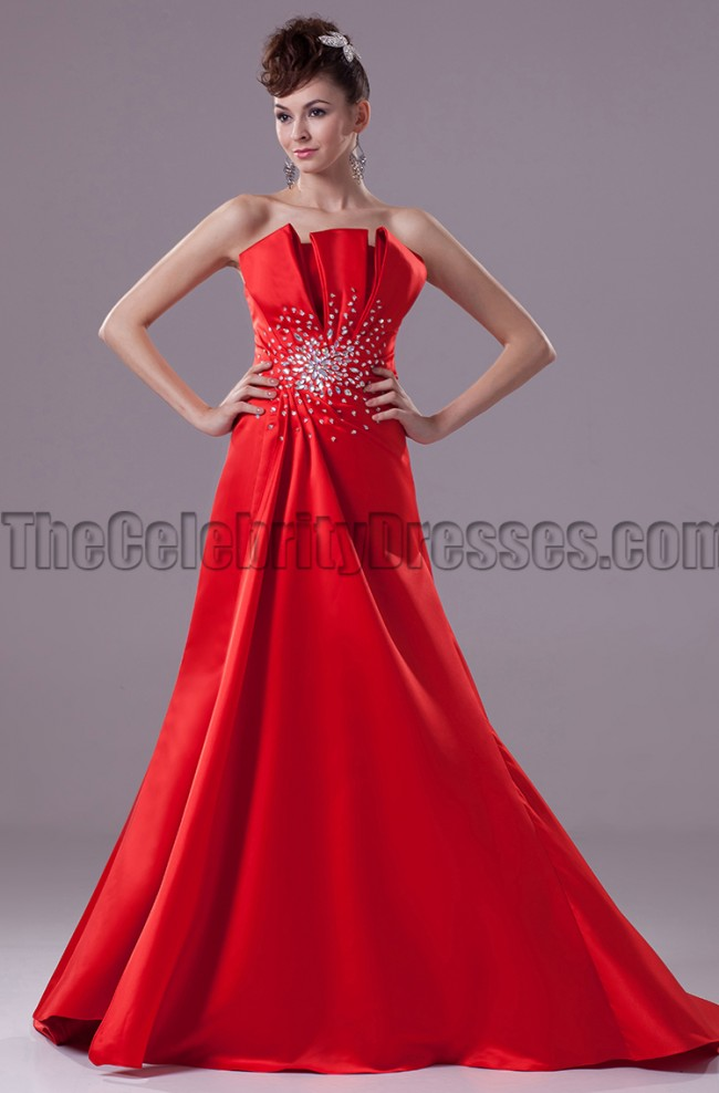266eb9dd46b4 Elegant Red Strapless A-Line Formal Dress Evening Gown ...