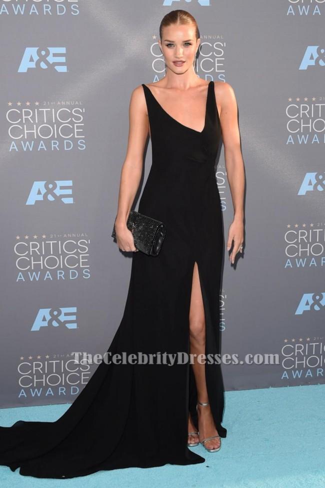 Rosie Huntington Whiteley Black Evening Dress 21st Annual