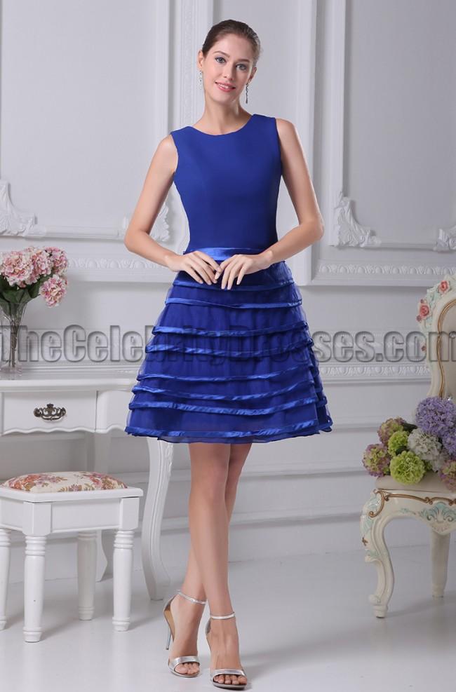 Short Royal Blue A Line Cocktail Graduation Dresses