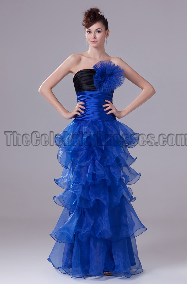 Royal Blue And Black Strapless Prom Gown Evening Dresses ...