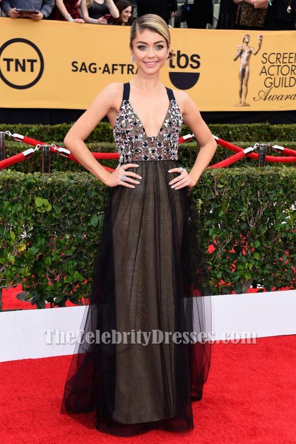 Sarah Hyland Beaded Black Formal Dress 2017 Sag Awards Red Carpet Tcd6033