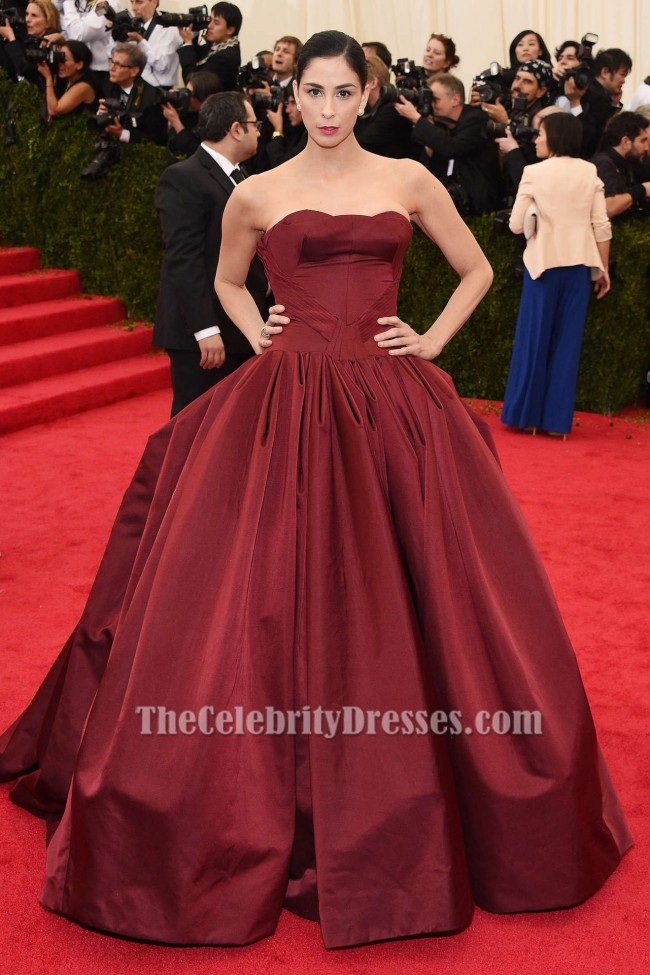 Sarah Silverman Burgundy Ball Gown Quinceanera Dress 2014 Met Gala