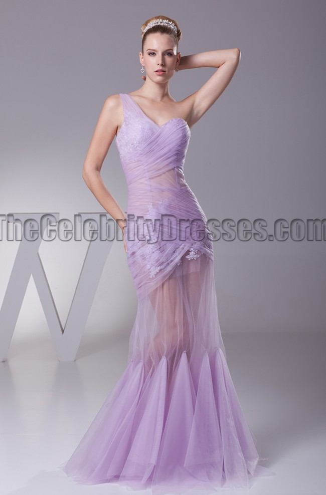Sexy See Through One Shoulder Prom Gown Evening Dress
