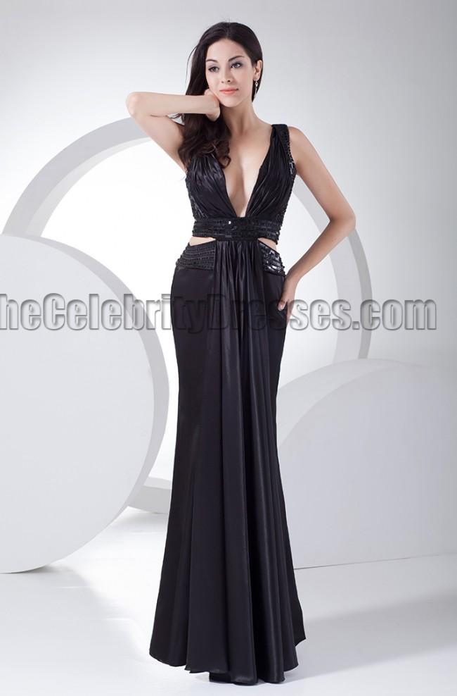Sexy Black Deep V Neck Evening Dress Prom Gown