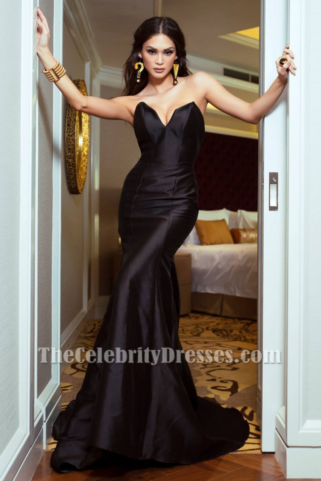 Sexy Black Strapless Mermaid Evening Gown Celebrity Inspired Dresses