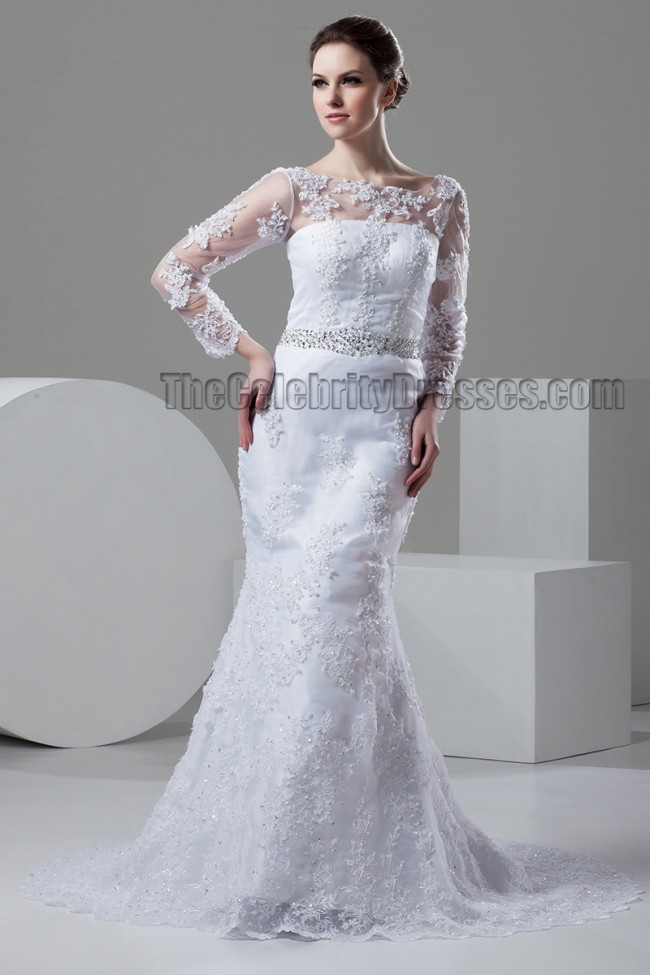 Sheath Column Lace Long Sleeve Beaded Wedding Dresses