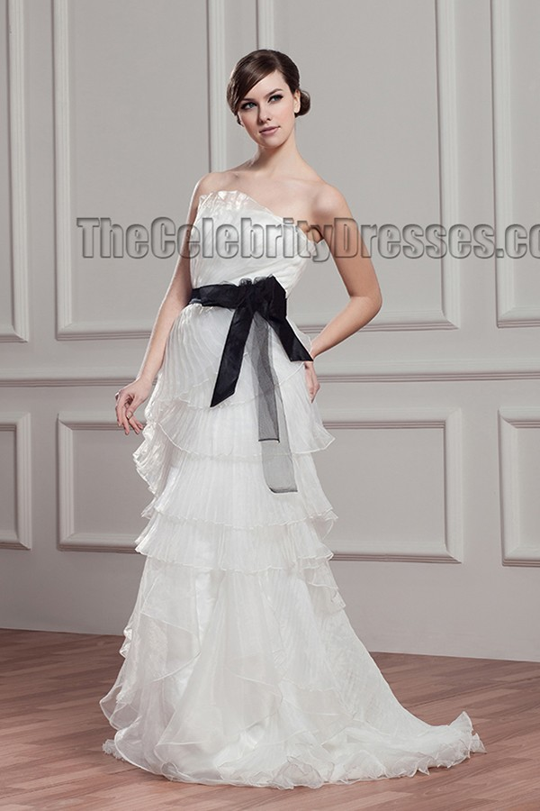 sheath column strapless organza wedding dress with a black