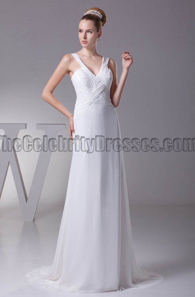 Sheath column v neck chiffon wedding dresses for Sheath v neck wedding dress