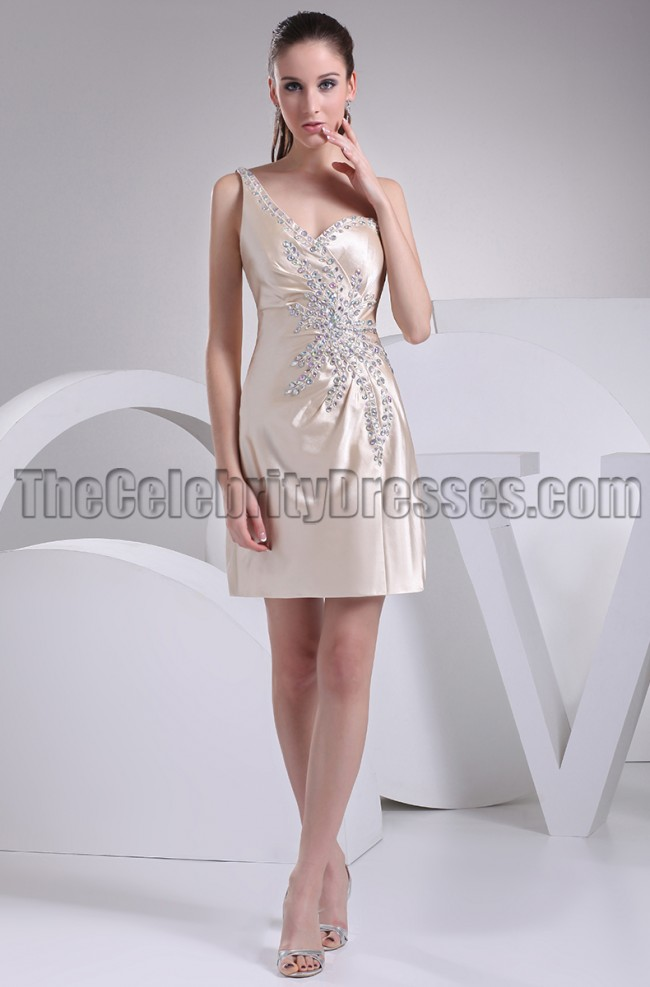 Short Champagne One Shoulder Beaded Party Graduation Dresses ...