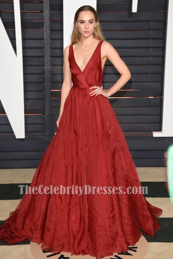 Suki waterhouse red a line formal dress 2015 oscars red carpet thecelebritydresses - Red carpet oscar dresses ...