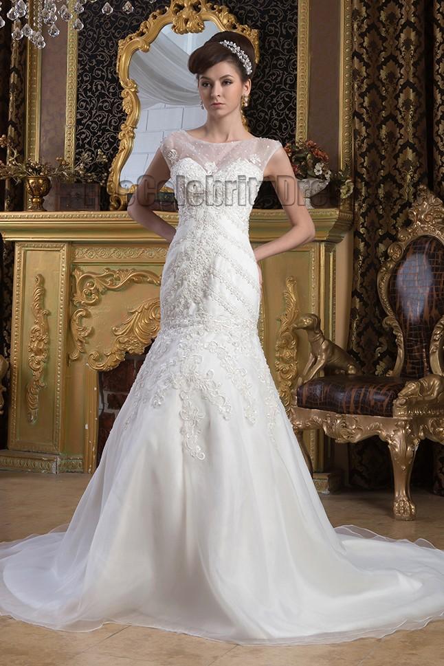 Trumpet mermaid beaded embroidered wedding dresses for Beaded trumpet wedding dress