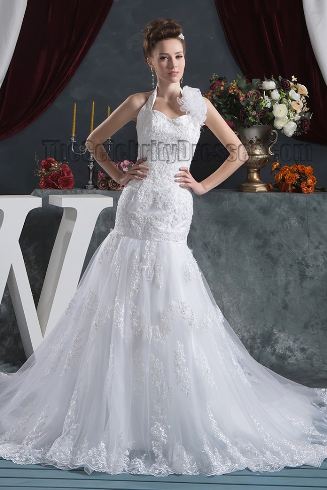 Trumpet mermaid halter chapel train wedding dresses for Mermaid halter wedding dresses
