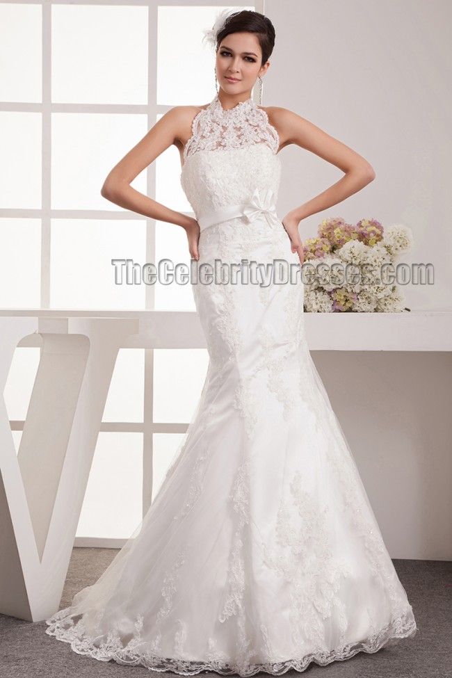Trumpet mermaid halter lace sweep brush train wedding for Mermaid halter wedding dresses