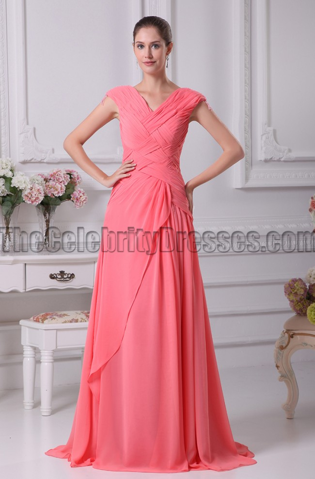 Watermelon Prom Formal Dresses Bridesmaid Gowns - TheCelebrityDresses
