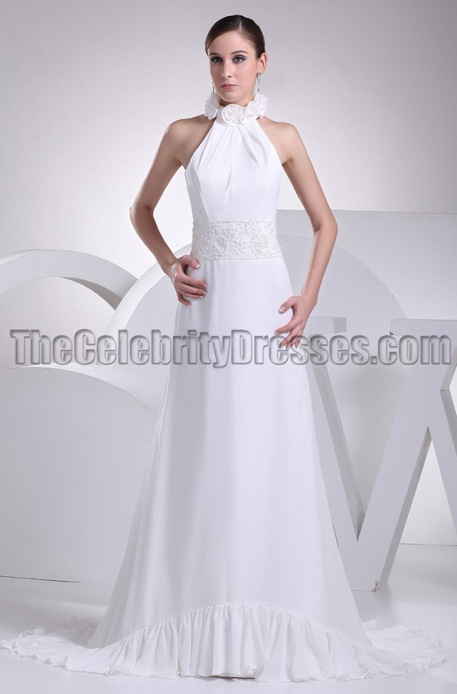 White Halter Backless Prom Gown Evening Dresses ...