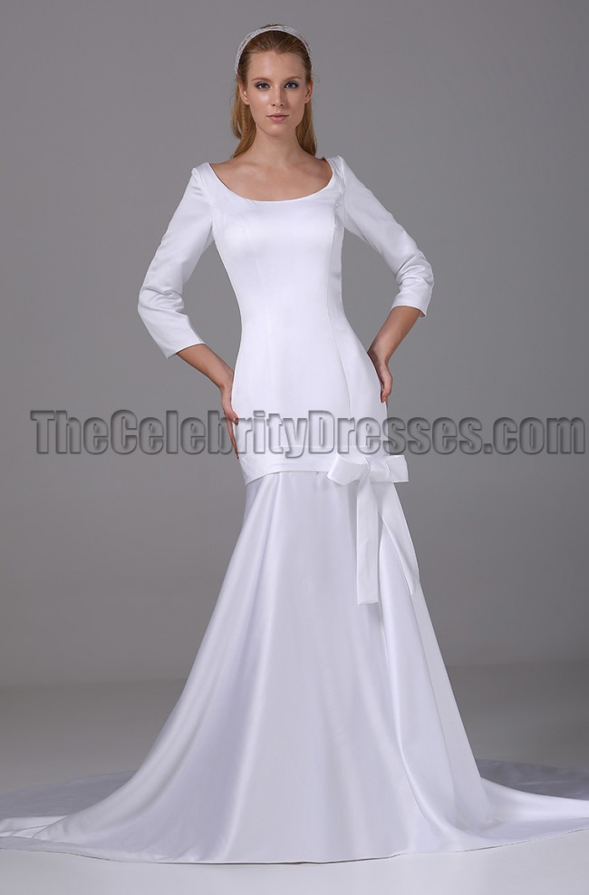 Chic white long sleeve mermaid wedding dress bridal gown for Long white wedding dresses