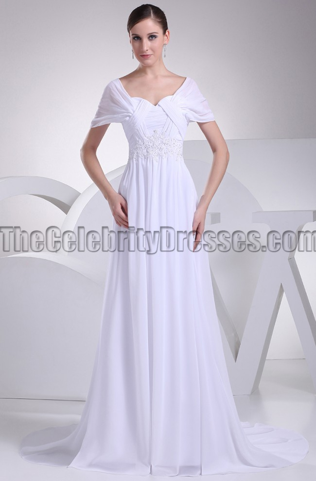White Chiffon Dress with Short Sleeves