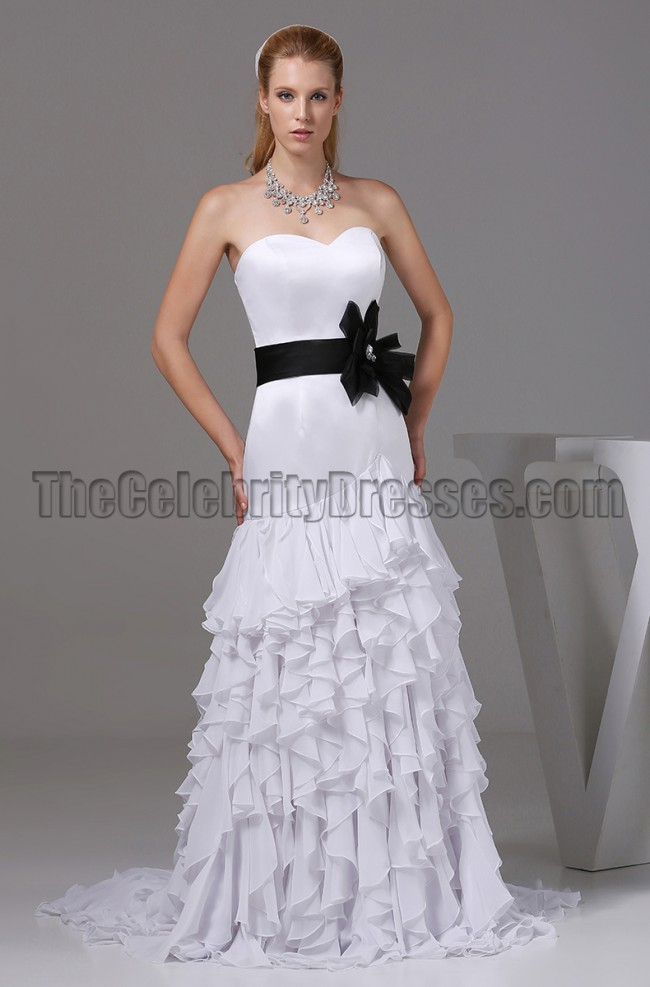 white sweetheart a line wedding dress prom gown with black