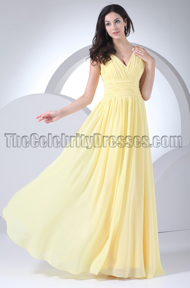 Floor Length Yellow Prom Gown Evening Bridesmaid Dresses ...