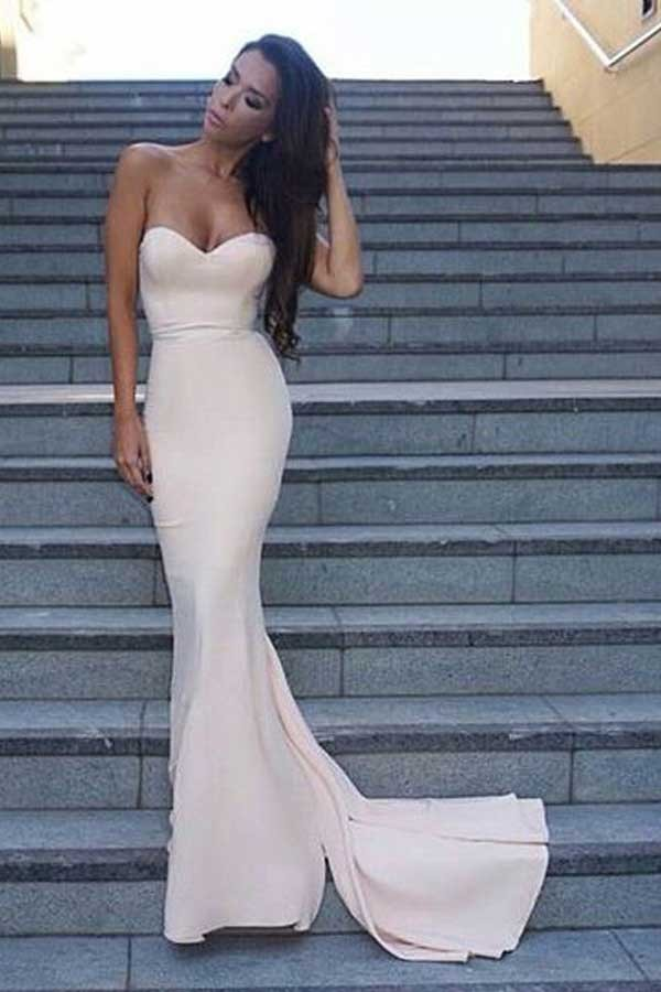 Beige Sweetheart Mermaid Evening Gown Formal Dresses