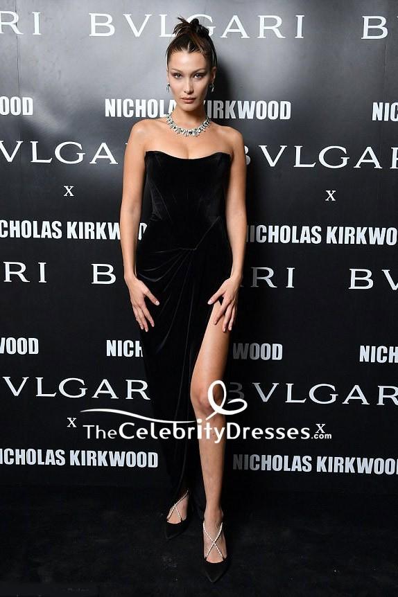 e71e4e7e2b0b2 Bella Hadid Black Velvet Strapless Thigh-high Slit Evening Dress Milan  Fashion Week TCD7732