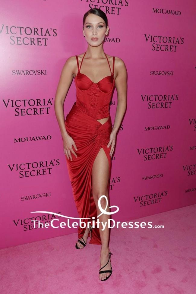 Bella Hadid Red Corset High Split Evening Dress 2017 Victoria\'s ...