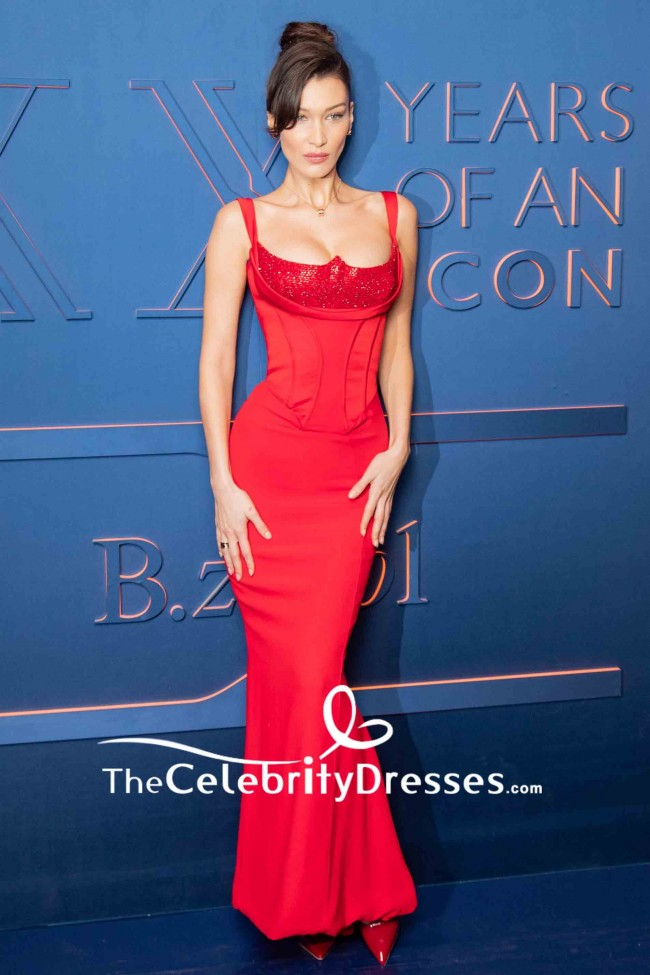 Bella Hadid Red Mermaid Sequins Corset Sexy Prom Dress B