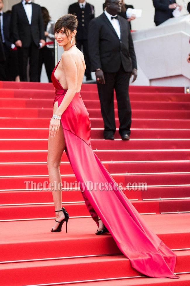 Bella Hadid Sexy Red Evening Dress Cannes 2016 Red Carpet Gown - TheCelebrityDresses