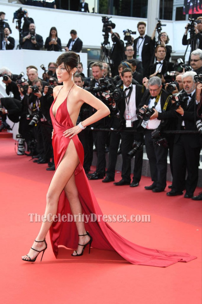 Bella hadid sexy red evening dress cannes 2016 red carpet gown thecelebritydresses