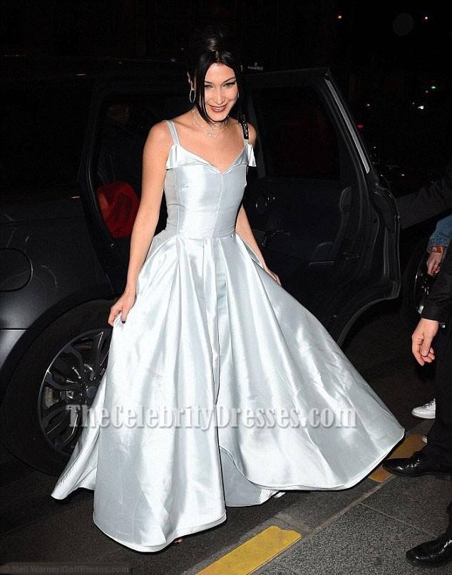 Bella Hadid Silver A-Lin Ball Gown Prom Evening Dress 2017 Paris ...