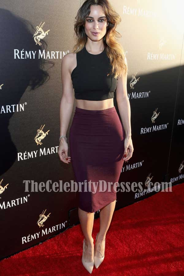 Berenice Marlohe Black And Plum 2 Pieces Cocktail Dress