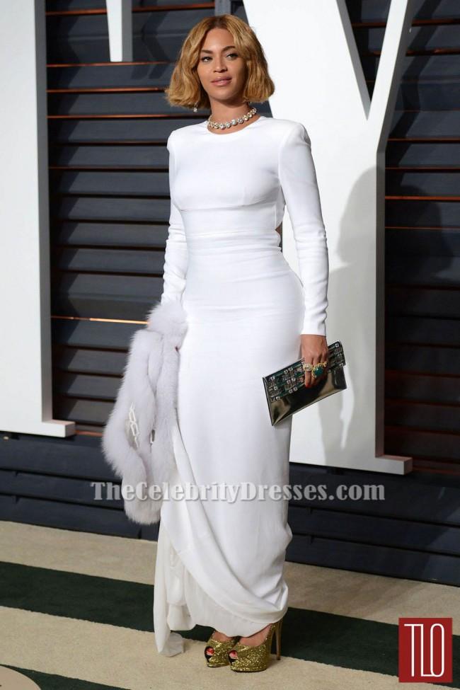 Beyonce White Long Sleeve Evening Dress 2015 Academy