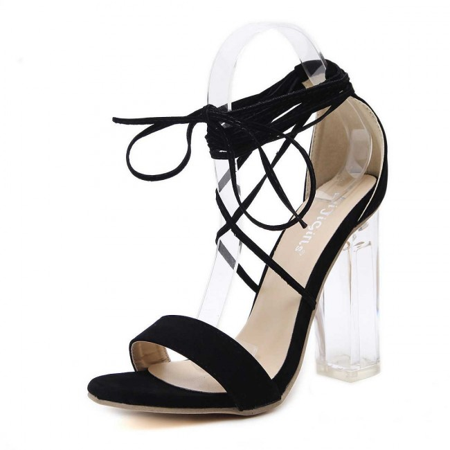 4efd919d1a3 Black Chunky Heel Open-toe Women Tie Suede Summer Sandals Cheap