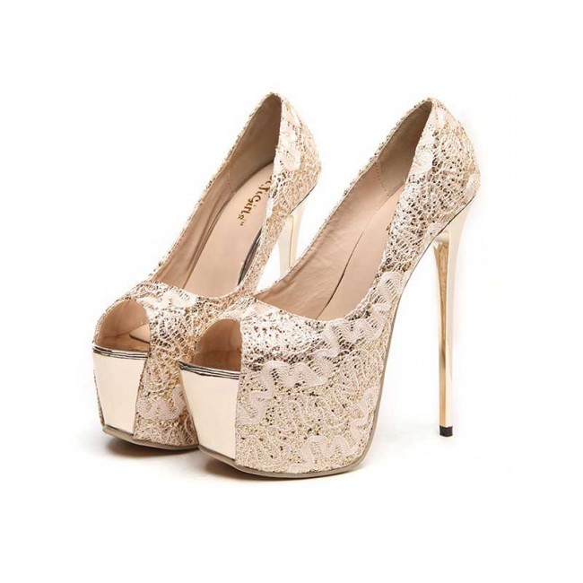 Black platform peep toe stiletto heels wedding shoes with for Shoes with fish in them