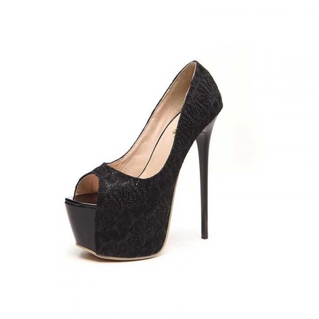 Black Platform Peep Toe Heels