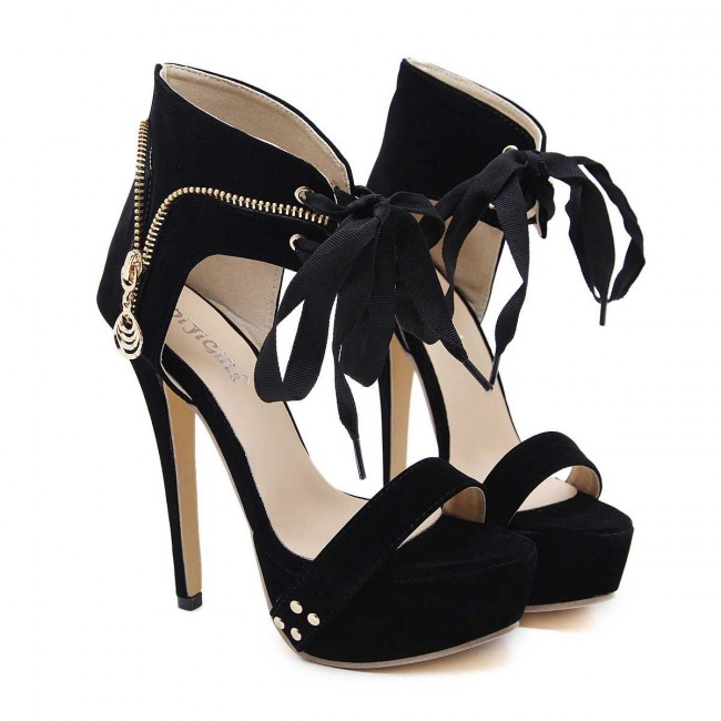 black stiletto heels platform open toe summer sandals