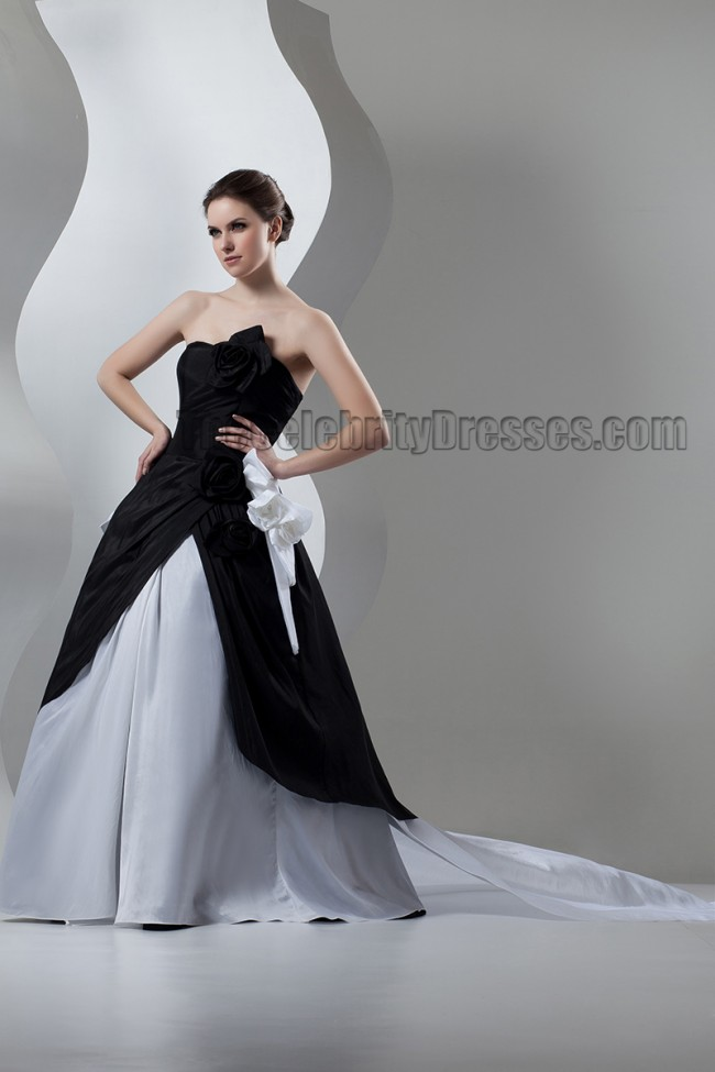 Black And Silver Strapless A Line Formal Dress Prom Gown