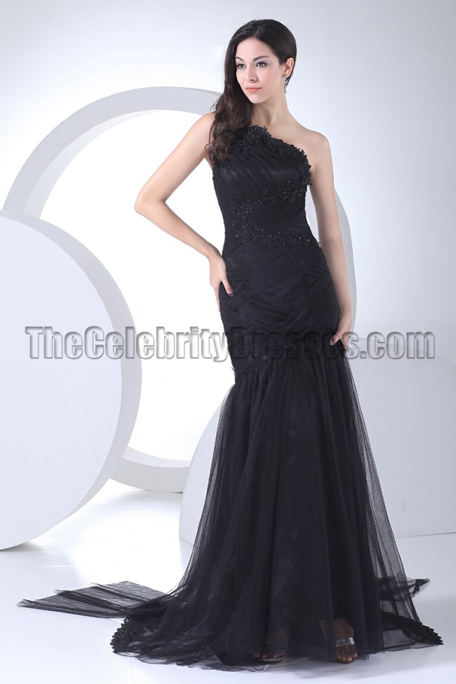 Black Mermaid One Shoulder Formal Dress Evening Gown ...