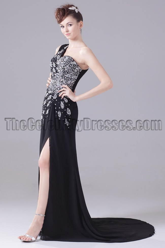 Black One Shoulder Beaded Formal Dress Evening Prom Gown