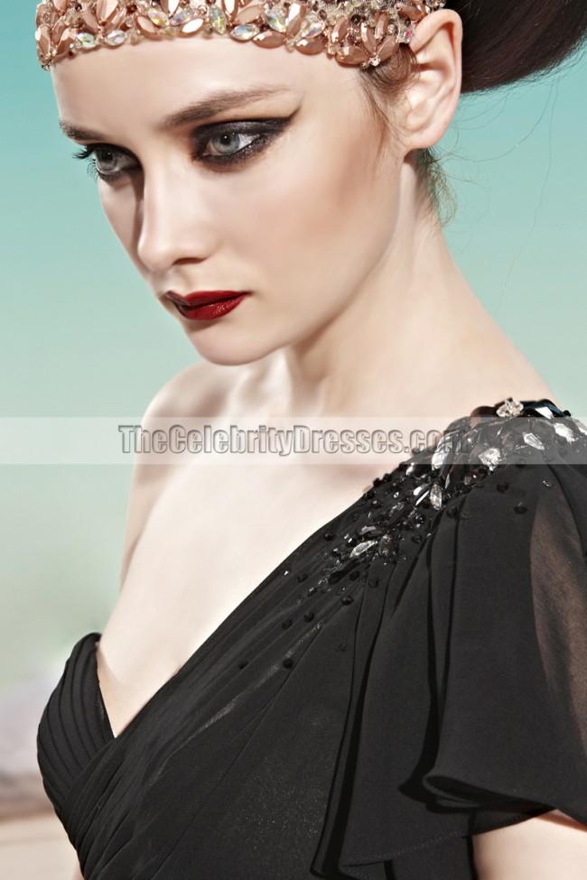 Black One Shoulder Floor Length Prom Gown Evening Dresses ... One Shoulder Black Prom Dress