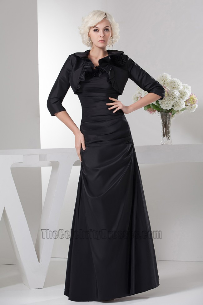 Floor Length Black Strapless Prom Gown Evening Dress With