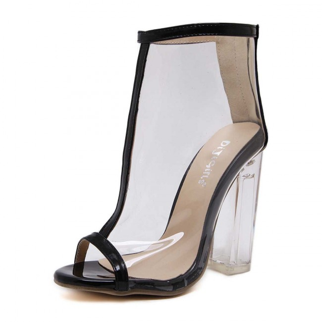 21cfb95c6e7 Apricot Fish Head Transparent Sandals Crystal High Chunky Heel Summer Boot